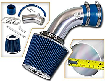 Filter 02-05 GMC Envoy 4.2L 256Cu ST Racing Blue Short Ram Air Intake Kit l6 V6 in