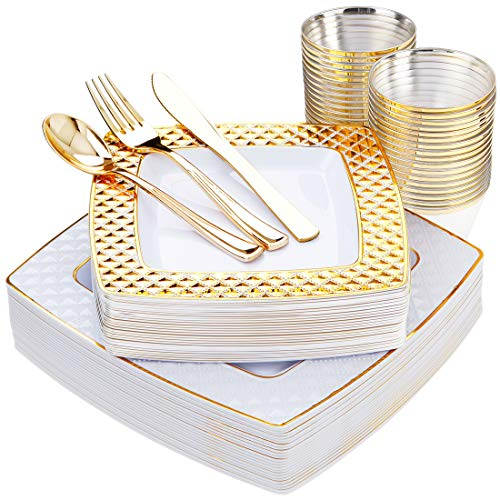 150 PCS Gold Square Plates with Disposable Plastic Silverware, Elegant Tableware Set Includes 25 10'' Dinner Plates + 25 7.6'' Dessert Plates + 25 Forks+25 Spoons+25 Knives + 25 9oz ()