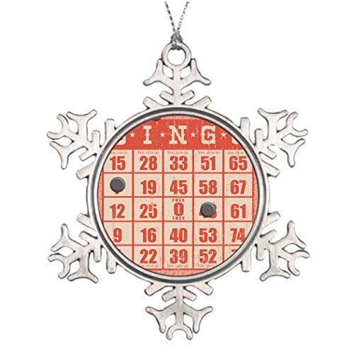 OneMtoss Christmas Snowflake Ornament Xmas Trees Decorated Hipster Vintage red Bingo Card Game Board Game Tree Garland -