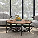 Big Wood Coffee Tables P PURLOVE Easy Assembly Hillside Rustic Natural Coffee Table with Storage Shelf for Living Room (Round)