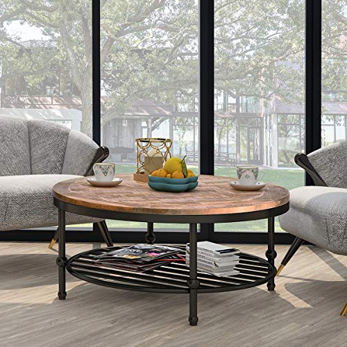 P PURLOVE Easy Assembly Hillside Rustic Natural Coffee Table with Storage Shelf for Living Room ()