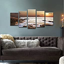 Wieco Art - The Rocky Sea Modern 5 Panels Seascape Canvas Prints Artwork Sea Beach Pictures Paintings on Canvas Wall Art for Home and Office Decorations P5RLA009_f1