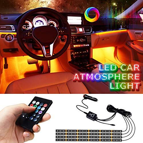 LED Innenbeleuchtung Auto, LETOUR 4 Stück 72 LEDs mehrfarbig, kfz innenraumbeleuchtung led mit Sound und kabelloser Fernbedienung, Kfz Ladegerät im Lieferumfang enthalten, DC 12 V