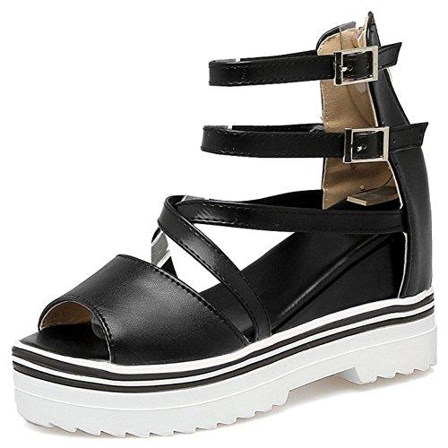 COOLCEPT Mujer Moda Correa de Tobillo Sandalias Punta Abierta Elevator Interior Zapatos SM Negro