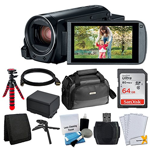 Canon VIXIA HF R82 Camcorder + Canon SC-A80 Soft Case + Sandisk 64GB Memory Card + Extra BP-727 Battery Pack + Flexible, Wrapable Tripod + Card Reader + Screen Protectors + Cleaning Kit + Accessories by PHOTO4LESS