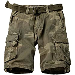 MUST WAY Men's Multi Pocket Slim Fit Cotton Twill Cargo Shorts 8062# C34 Retro Camo 34