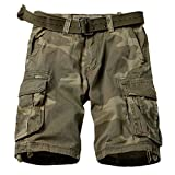 MUST WAY Men's Multi Pocket Slim Fit Cotton Twill Cargo Shorts 8062# C34 Retro Camo 36