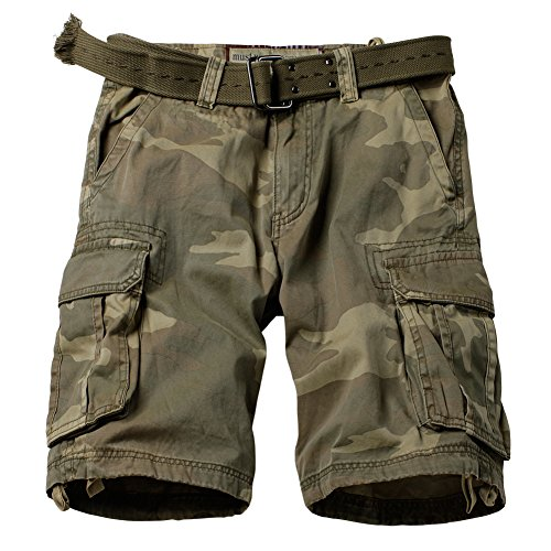 MUST WAY Men's Multi Pocket Slim Fit Cotton Twill Cargo Shorts 8062# C34 Retro Camo 36 ()