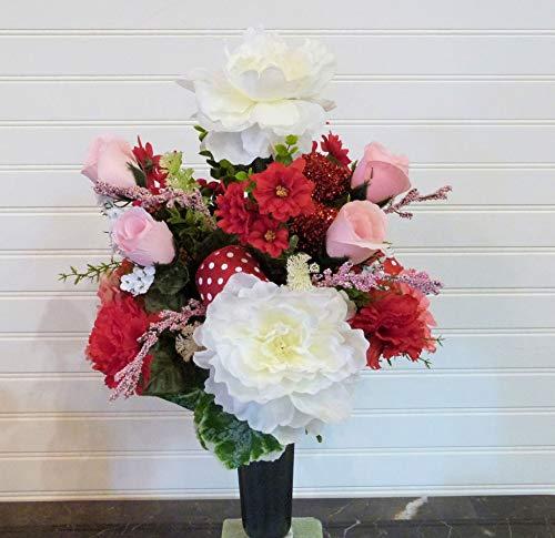 Valentine Cemetery Flowers, Cemetery Arrangement with Peonies, Cemetery Vase Flowers