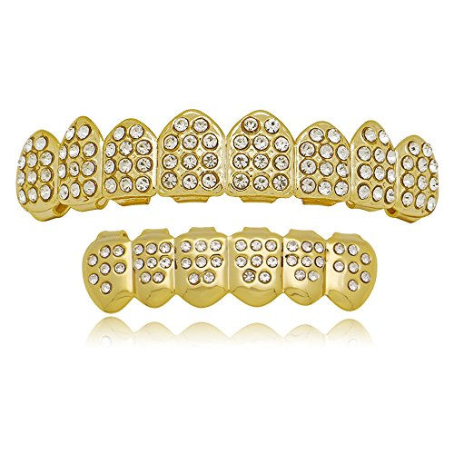 14k Gold Bling Bling Grillz Vampire Fang 8 Top and 6 Bottom Teeth Set (Gold)