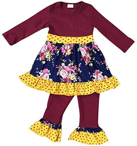 - Little Girls 2 Pieces Dress Set Ruffle Hem Dress Stripe Legging Pant Clothing Set Burgundy 2T XS (201213)