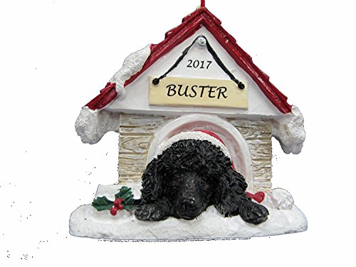 Doghouse Ornament - Poodle, Black Color Ornament Hand Painted and Personalized Christmas Doghouse Ornament with Magnetic Back