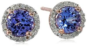Sterling Silver Tanzanite and Diamond Stud Earrings (0.07cttw, G-H Color, I2-I3 Clarity) by Delmar Mfg LLC
