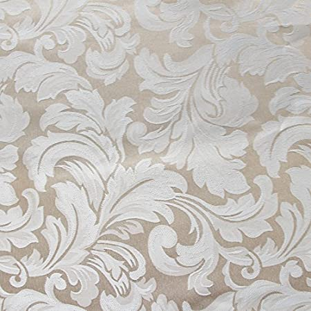 Eforcurtain Elegant Damask Jacquard Rectangle Tablecloth Waterproof Polyester Fabric Table Cover for Kids Ceram Ivory FloralJacBeige5270 52 Inch By 70 Inch