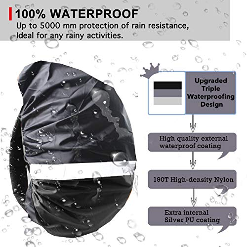 Frelaxy Backpack Rain Cover 100% Waterproof Backpack Cover, Upgraded Anti-Slip Cross Buckle Strap & Rainproof Storage Pouch & Silver Coated, for Hiking (Black, S (for 15L-25L Backpack)) by Frelaxy (Image #3)