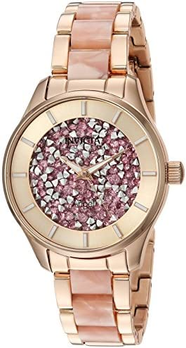 Invicta Women's Angel Quartz Watch with Stainless-Steel Strap, Rose Gold, 8 (Model: 25244)