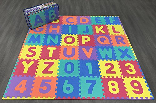 Alphabet Mats (Ottomanson Learning Interlocking Foam Puzzle Play Mats, Alphabet and Numbers, 36 Multicolor Tiles (36 Square Feet, Non-Toxic))