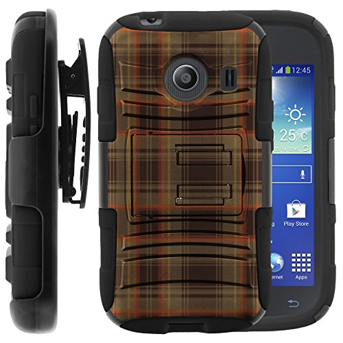 Samsung Galaxy Ace Style Case, Samsung Galaxy Ace Style Holster, Two Layer Hybrid Armor Hard Cover with Built in Kickstand for Samsung Galaxy Ace Style S765C SM-G310 from MINITURTLE | Includes Screen Protector - Auburn Plaid