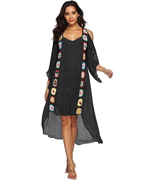 b2f7081bb8 sanrense Women Bathing Suit Swimwear Cover Ups Beachwear Long Dress Bikini  Beach Cover Ups (Black