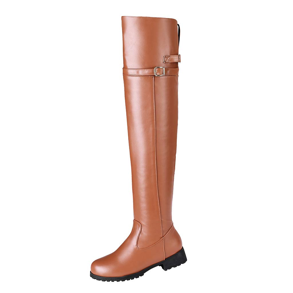 Fheaven Women's Over The Knee High and Up Boots Buckle Straps Riding Non Slip Flat Boots Brown by Fheaven-shoes