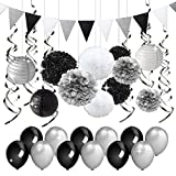 black and white decorations KREATWOW Black and Silver Party Decorations Tissue Paper Pom Poms Paper Lanterns Pennant Banner Swirls Pack for Birthday Party, Bachelorette, Retirement, Graduation Decorations
