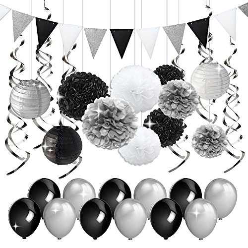 KREATWOW Black and Silver Party Decorations Tissue Paper Pom Poms Paper Lanterns Pennant Banner Swirls Pack for Birthday Party, Bachelorette, Retirement, Graduation Decorations ()