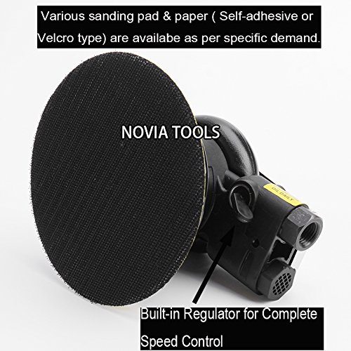 "5""Professional Air Random Orbital Palm Sander,Dual Action Pneumatic Sander,Polisher Sanding,Light Weight,Low Vibration, Heavy Duty by NOVIA TOOLS (Image #4)"