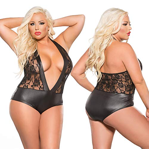 Sexy Plus Size Lace and Wet Look Teddy Allure Lingerie Kitten Plus Queen 1x 2X 3X Black