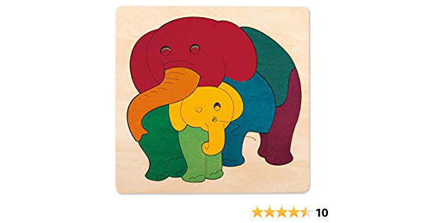 Hape George Luck Elephant Baby Wood Puzzle 9 Piece Amazon Ca Toys Games