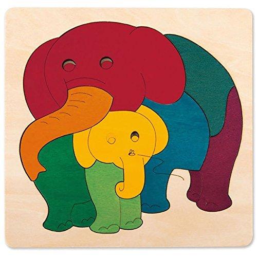 Hape - E6505 - George Luck - Puzzle - Eléphant et Bébé - Arc-en-Ciel - 9 pièces