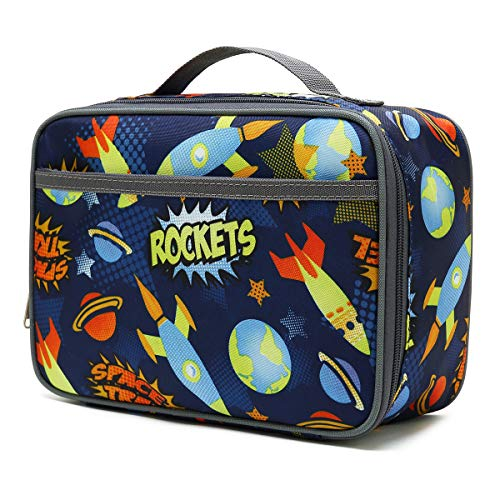 Kids Lunch box Insulated Soft Bag Mini Cooler Back to School Thermal Meal Tote Kit for Girls, Boys,Women,Men by FlowFly,Outer Space Rocket Ships in Dark Navy Blue