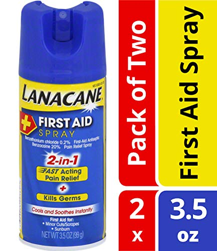 Lanacane First Aid Spray- 2-in-1 Pain Relief and Antiseptic Spray For Fast-acting Relief From Insect Bites, Cuts, Scrapes, and Bruns, Cools and Soothes Instantly, With Benzocaine, 3.5 oz (Pack of 2)