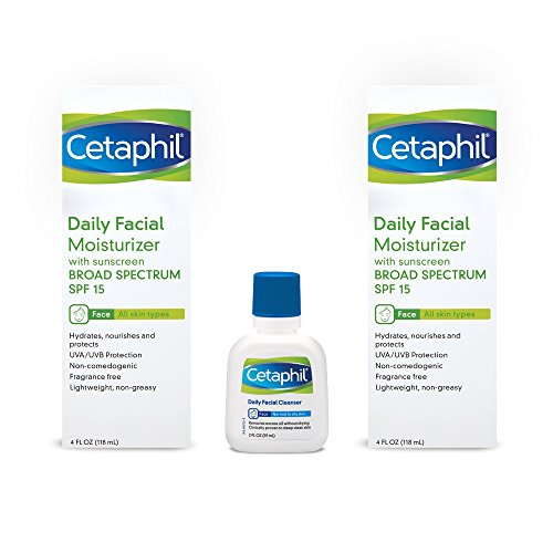 Cetaphil Daily Facial Moisturizer with Sunscreen Broad Spectrum SPF 15, Combo Pack Twin 4 Ounce Bottles Plus 2 Ounce Daily Facial Cleanser (Plus Fragrance Spf 15)