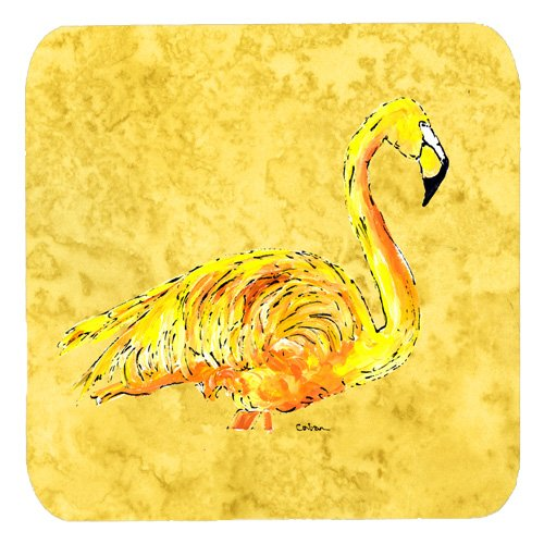 (Caroline's Treasures 8872FC Flamingo on Yellow Foam Coasters (Set of 4), 3.5