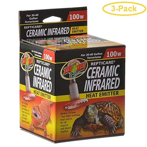 Zoo Med ReptiCare Ceramic Infrared Heat Emitter 100 Watts - Pack of 3 ()