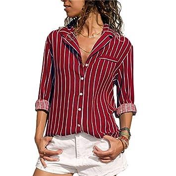 LFMDSY Blusa a Rayas Blusas y Blusas para Mujer Manga Larga Camisa ...