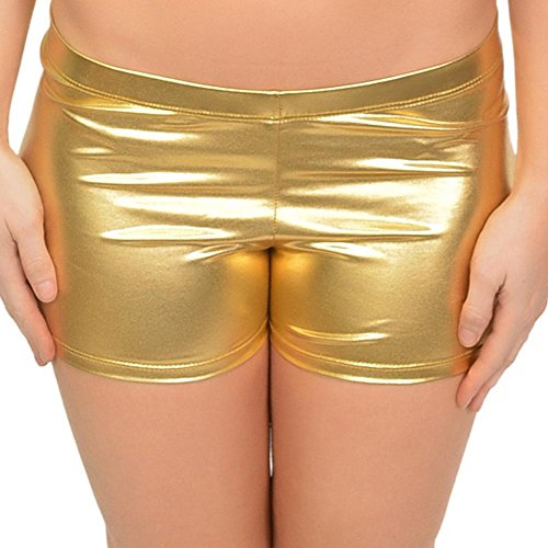 Stretch is Comfort Women's Plus Size Foil Metallic Booty Shorts Gold X-Large -