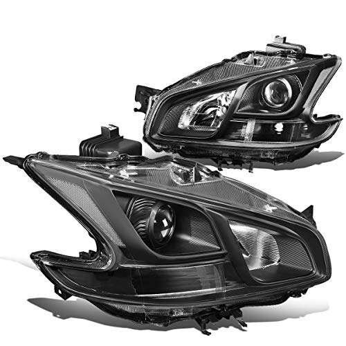 For 09-14 Nissan Maxima Pair Black Housing Clear Corner Projector Headlight/Headlamps