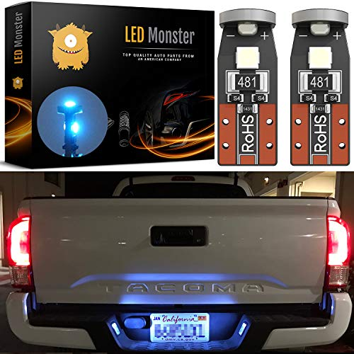 LED Monster 2-Pack Ice Blue 3-SMD LED Bulbs (3030 Chipset) for Car Interior Dome Map Door Courtesy License Plate Lights Extremely Bright Compact Wedge T10 168 194 2827 ()