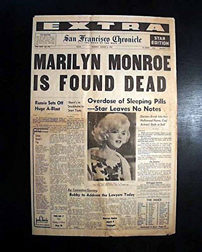 Great MARILYN MONROE Suicide Death SEX SYMBOL Hollywood Actress 1962 Newspaper SAN FRANCISCO CHRONICLE--EXTRA, Aug. 6 1962