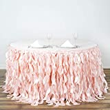 BalsaCircle 21 feet x 29-Inch Blush Curly Waves Taffeta Table Skirt Linens Wedding Party Events Decorations Kitchen Dining Catering