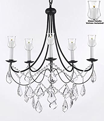 "Crystal Chandelier Lighting Chandeliers W/ Candle Votives H22.5"" W26"" - For Indoor / Outdoor Use! Great for Outdoor Events, Hang from Trees / Gazebo / Pergola / Porch / Patio / Tent !"