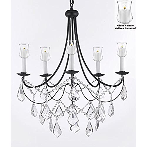 Crystal Chandelier Lighting Chandeliers W/ Candle Votives H22.5