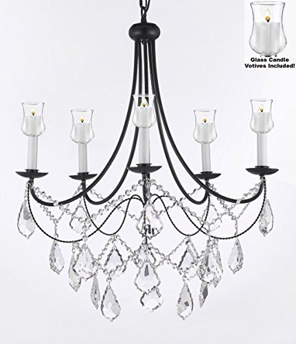 Crystal Chandelier Lighting Chandeliers W/ Candle Votives H22.5″ W26″ – For Indoor / Outdoor Use! Great for Outdoor Events, Hang from Trees / Gazebo / Pergola / Porch / Patio / Tent !
