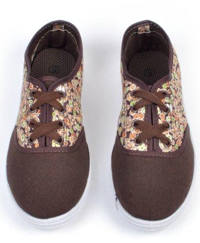 Kvinnors Vilda Blommor Duk Snörning Skate Sneakers Brun-