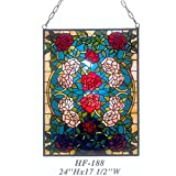 HF-188 Vintage Tiffany Style Stained Church Art Glass Decorative Romantic Rose Window Hanging Glass Panel Suncatcher, 24''x17.5''