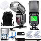 TTL Speed Light Flash for Canon DSLR Cameras EOS Rebel T3, T4, T6, T7, T1i, T2i, T3i, T4i, T5i, T6i, T7i + Monopod + 4 AA Rechargeable Batteries & Charger + 2X Battery Case + Accessory Bundle