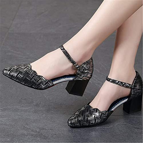 Zapatos Tamaño Negro Suave Hutt 22 a 0cm de Zapatillas Baile Mujer Cuero 5cm Verano Plata 25 Adulto Latina xSRqfTF