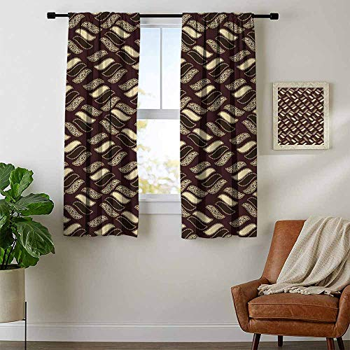 African, Curtains Printed, Indigenous Abstract Shapes Cheetah Motif Jungle Animal Skin Motif, Curtains Living Room, W72 x L63 Inch Dark Maroon Beige Brown