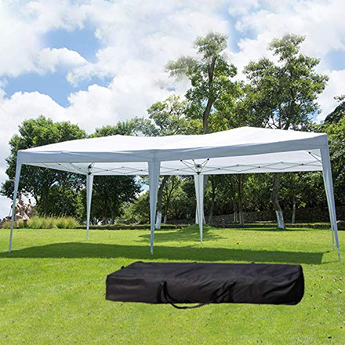 NsDirect EZ Easy Pop Up Canopy Tent Outdoor Portable Party Tent with Carrying Case/Bag Adjustable Folding Gazebo Pavilion Wedding Patio Shelter (10 x 20 ft -